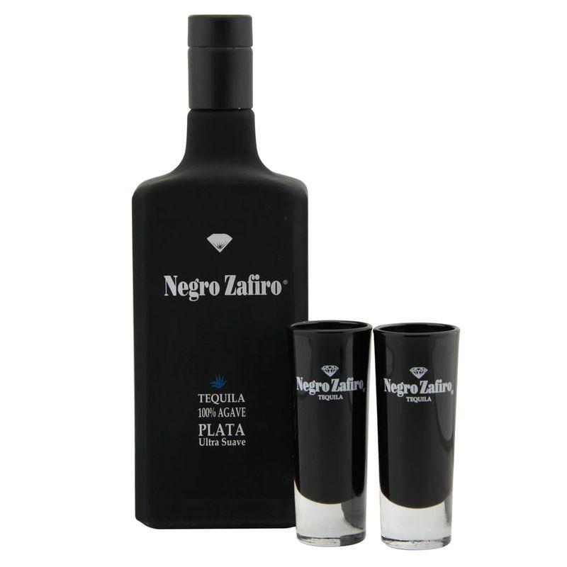 Tequila-Negro-Zafiro-Plata-750-ml-con2-caballitos-Bodegas-Alianza