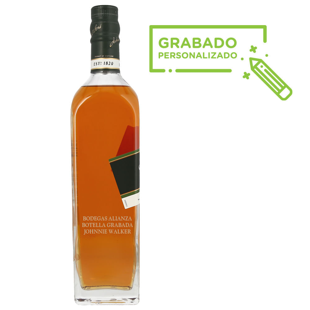 Whisky-Johnnie-Walker-Green-15-Años-700-ml-en-botella-grabada-Bodegas-Alianza