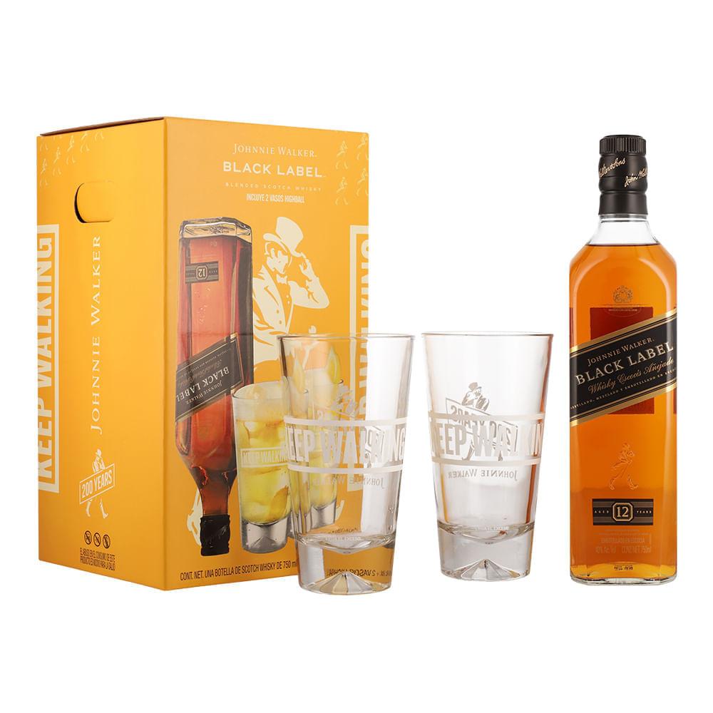 Whisky-Johnnie-Walker-Black-12-Años-750-ml-con-2-vasos-Bodegas-Alianza