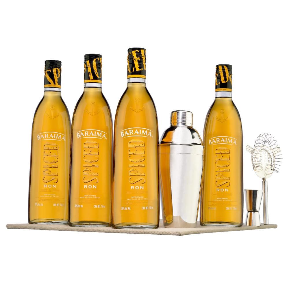 Paquete-de-4-botellas-de-Ron-Baraima-Spiced-750-ml-con-juego-Shaker-Bodegas-Alianza