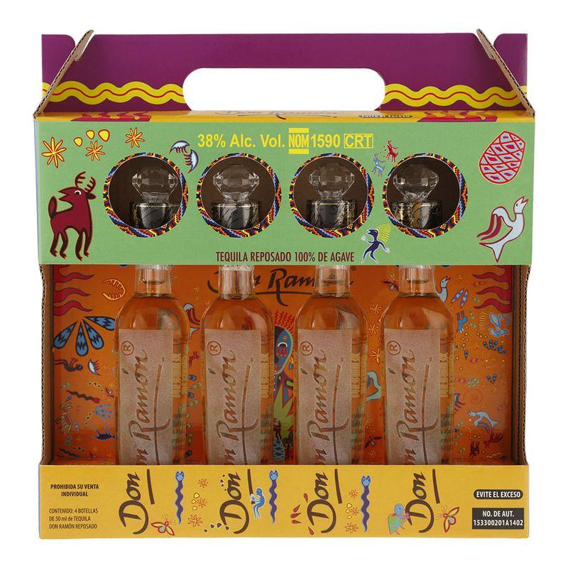 Paquete-de-4-botellas--Tequila-Don-Ramon-Reposado-50-ml-en-estuche-Bodegas-Alianza