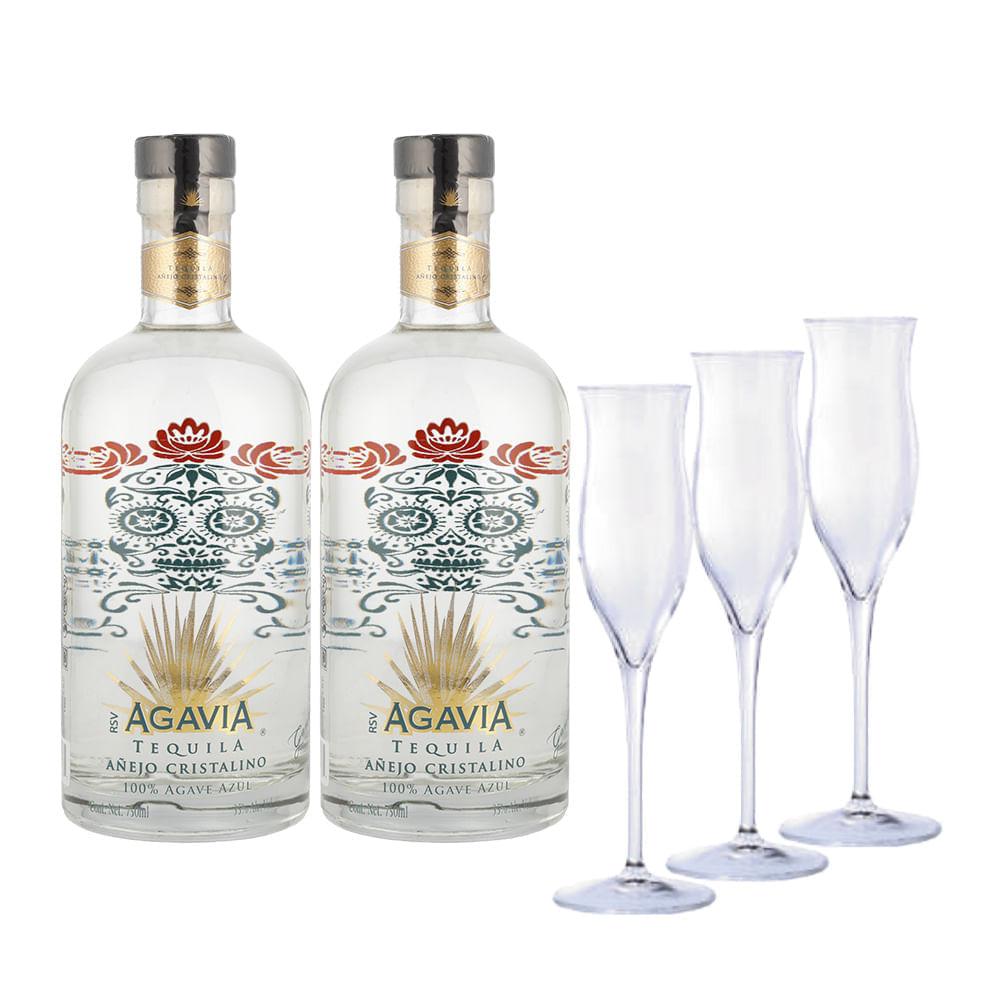 Tequila-Agavia-Añejo-Cristalino-2Bt-750-ml-con-3-Copas-Bodegas-Alianza