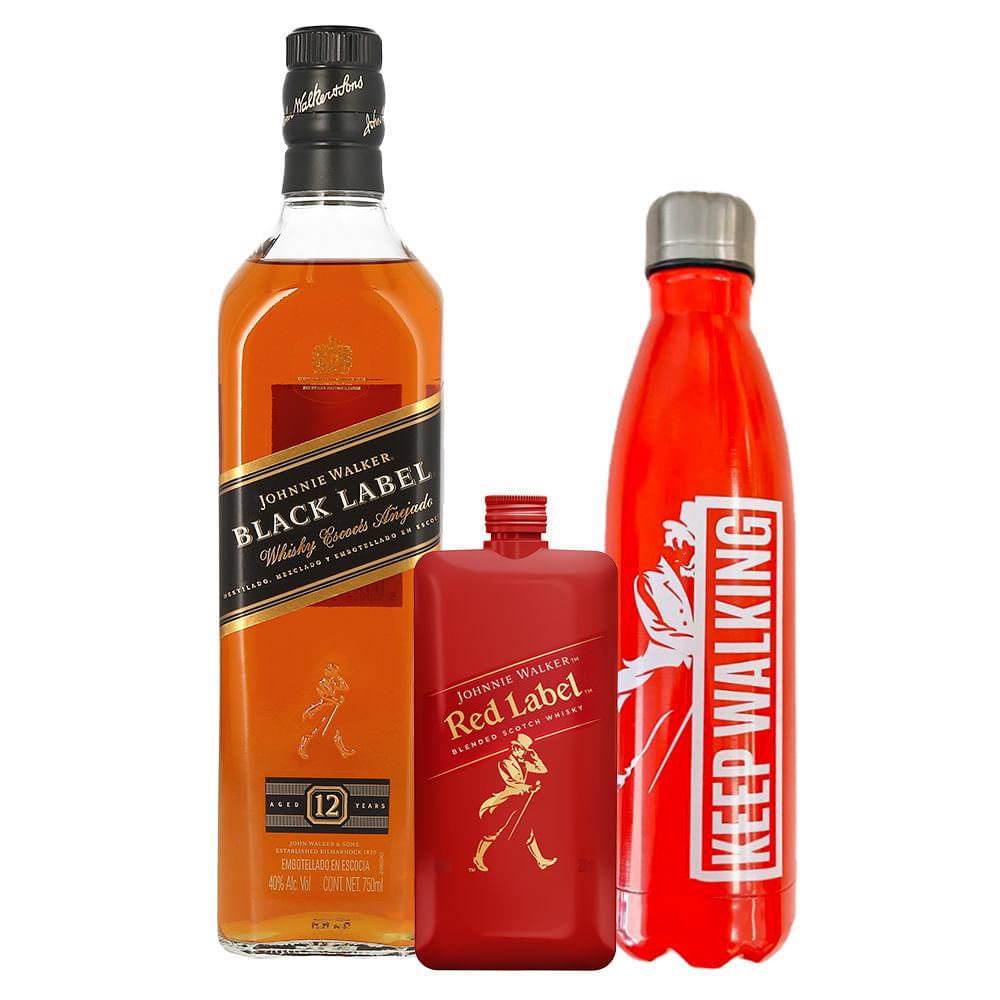 Whisky-Johnnie-Walker-Black-12-Años-750ml-con-Johnnie-Walker-Red-200-ml-y-termo-Bodegas-Alianza