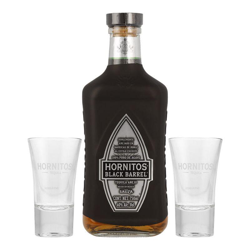 Tequila-Sauza-Hornitos-Black-Barrel-Añejo-750ml-con-2-Caballitos-Bodegas-Alianza