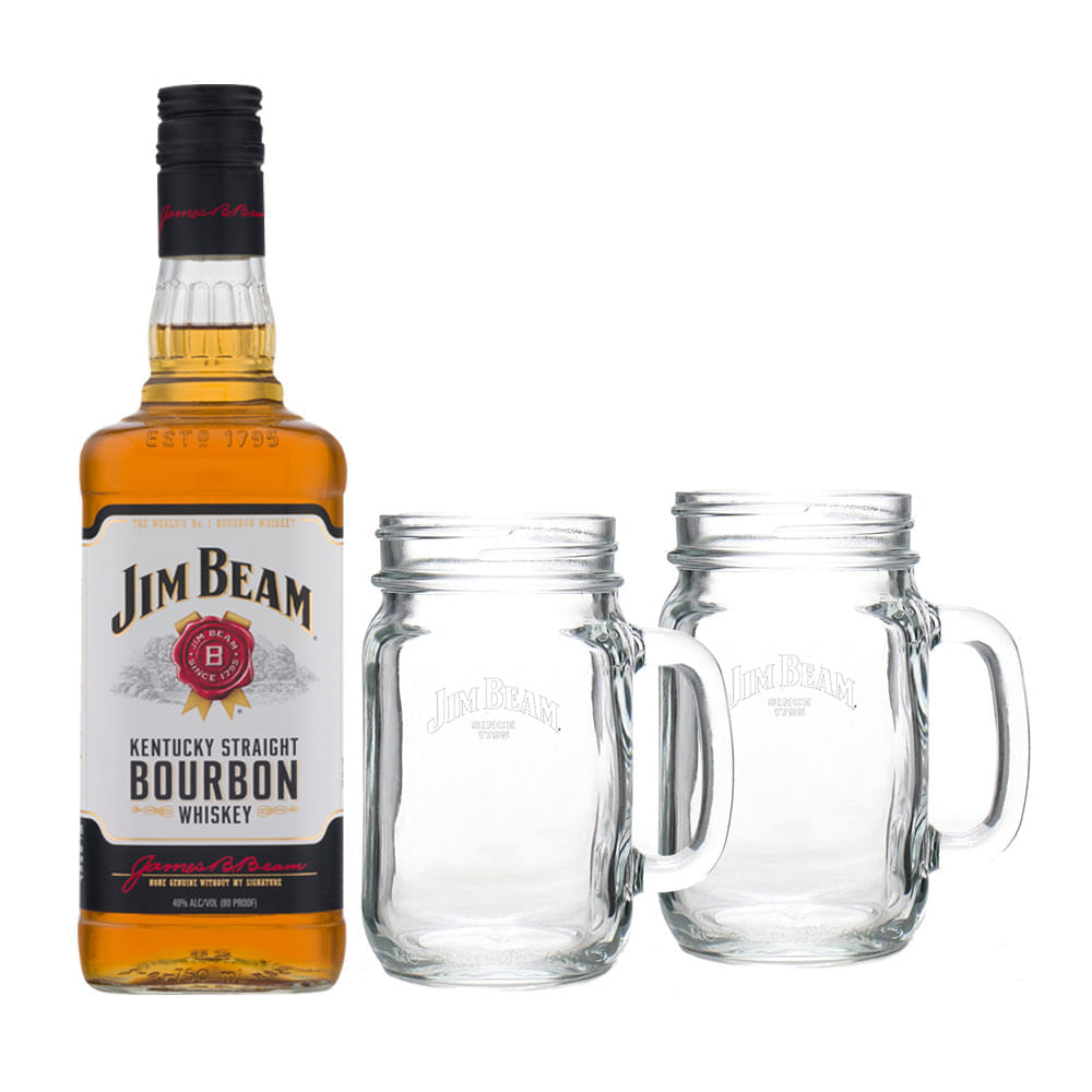 Whisky-Jim-Beam-White-750ml-con-2-Mason-Jar-Bodegas-Alianza