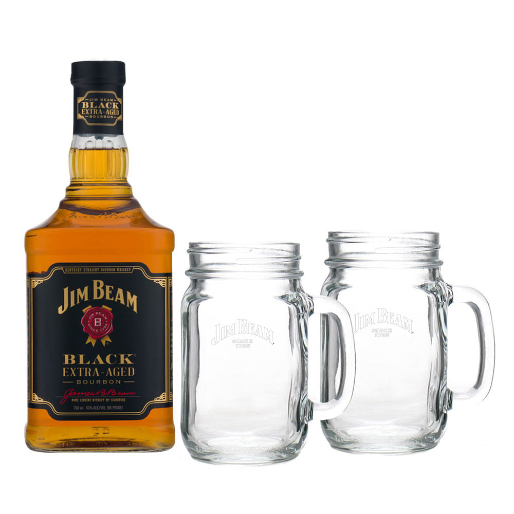 Whisky-Jim-Beam-Black-Extra-Aged-750ml-con-2-Mason-Jar-Bodegas-Alianza