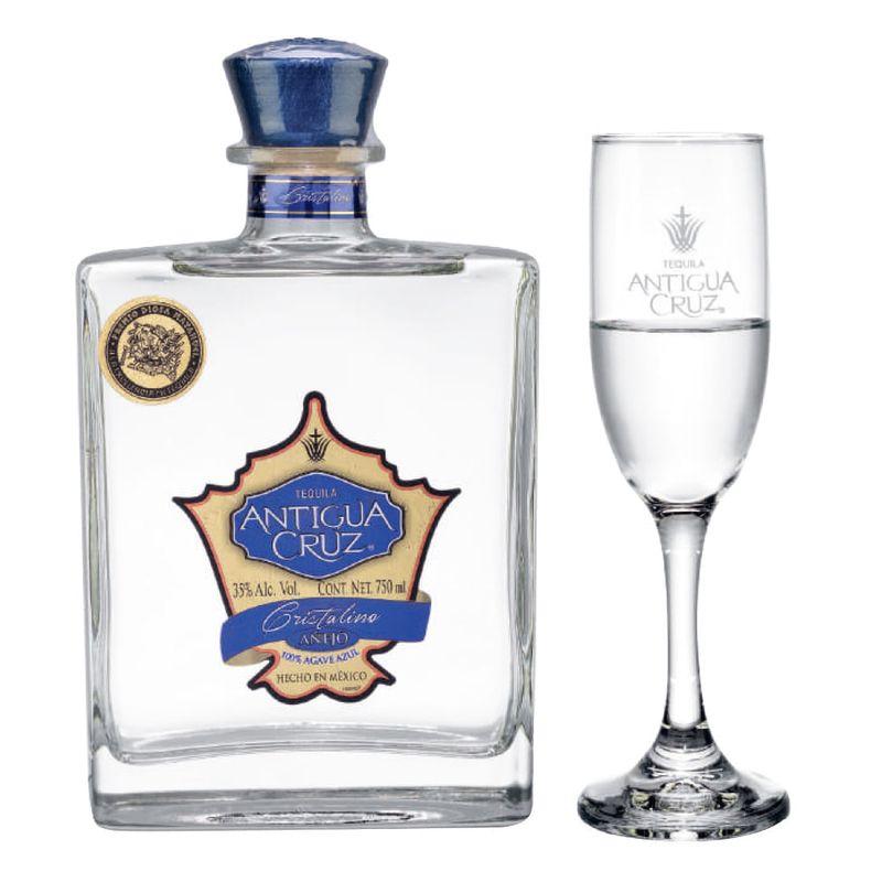 Tequila-Antigua-Cruz-Añejo-Cristalino-750-ml-con-copa-Bodegas-Alianza